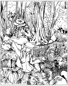 coloriage-perdus-foret free to print