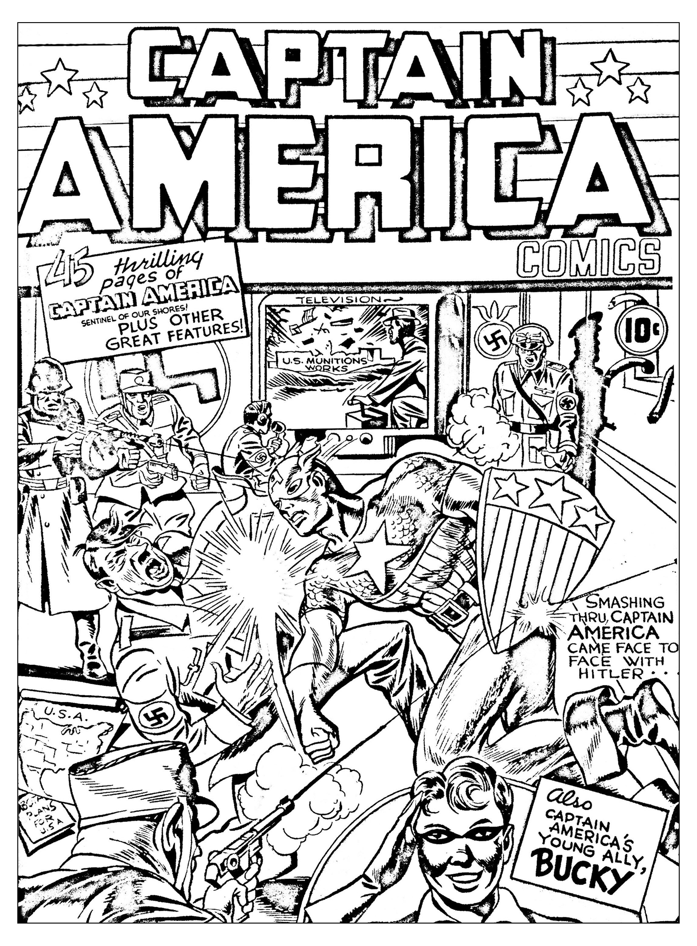 Coloriage créé à partir d'une couverture originale de Captain America (Source : Jack Kirby, King of comics)A partir de la galerie : Livres Et Comics