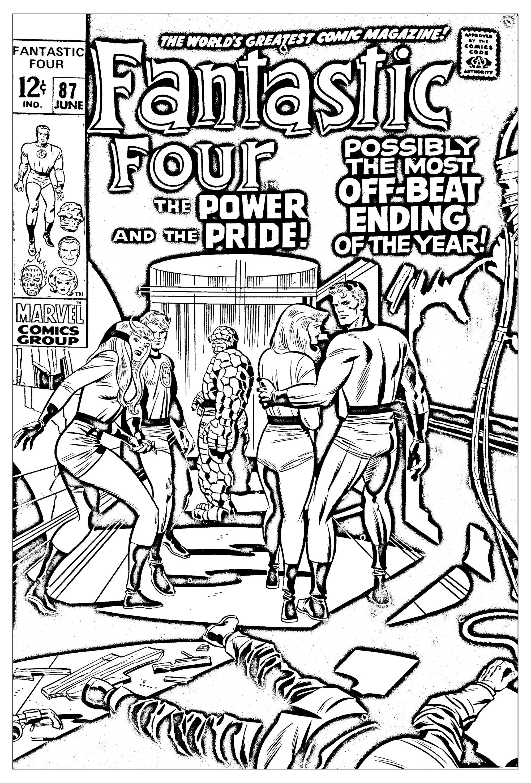 Coloriage réalisé à partir d'une couverture des Quatre Fantastique de 1969 (Source : Jack Kirby, King of comics)A partir de la galerie : Livres Et Comics