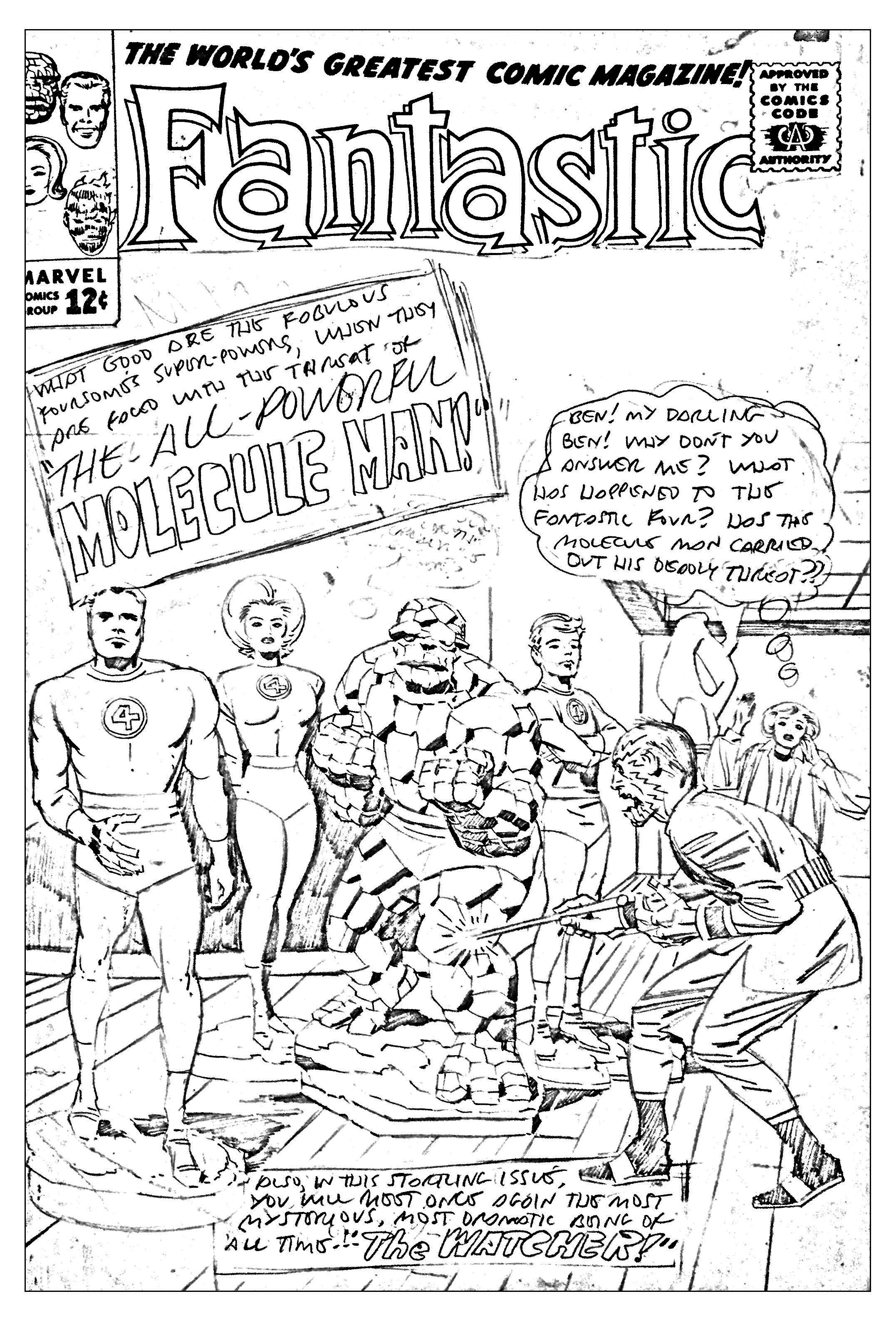Coloriage créé à partir d'une couverture inétide et inachevée réalisée pour les Quatre Fantastiques en 1963 (Source : Jack Kirby, King of comics)A partir de la galerie : Livres Et Comics