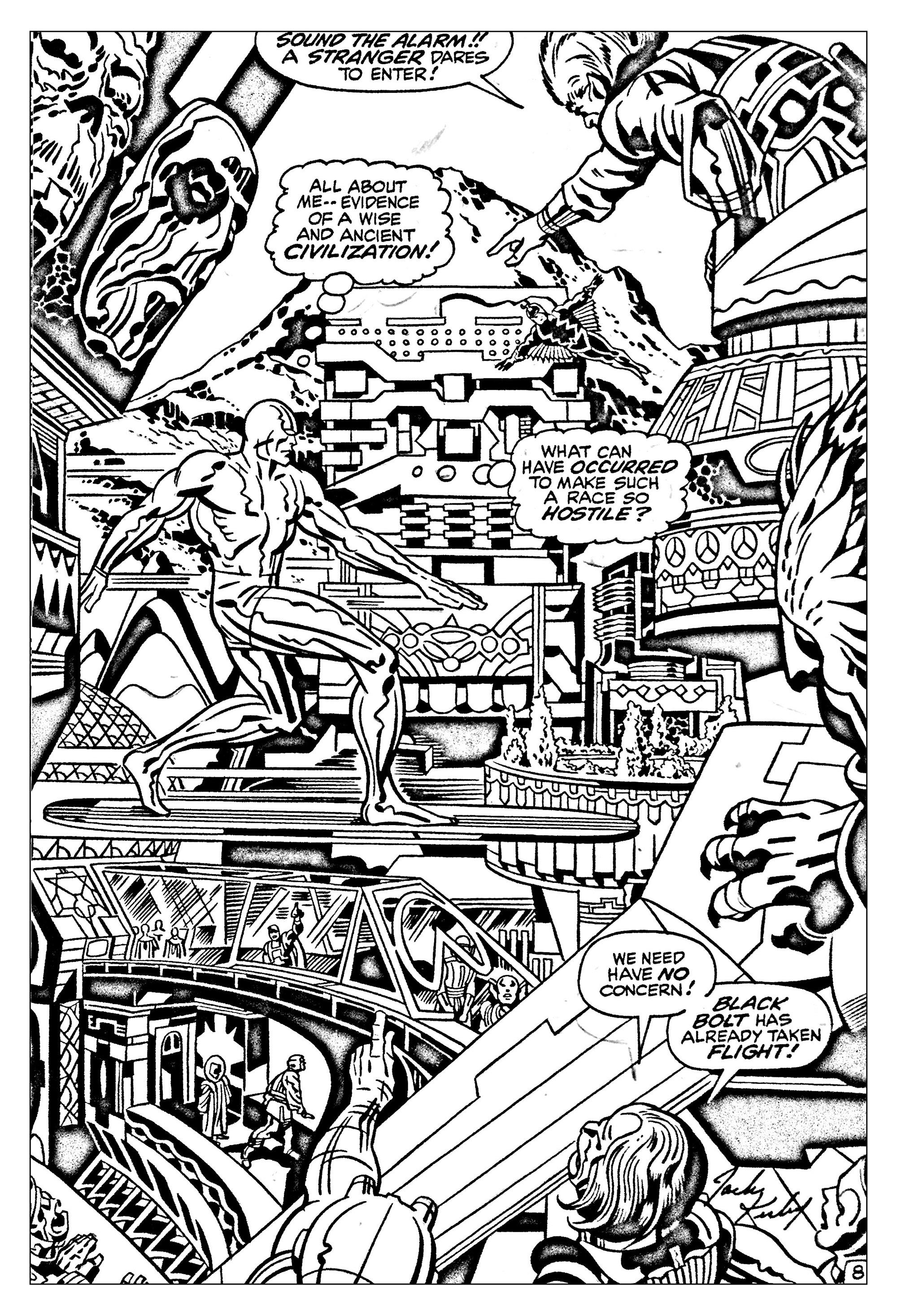 Coloriage créé à partir d'un dessin tiré d'un Comic 'Les quatre fantastique' (années 60) (Source : Jack Kirby, King of comics)A partir de la galerie : Livres Et Comics