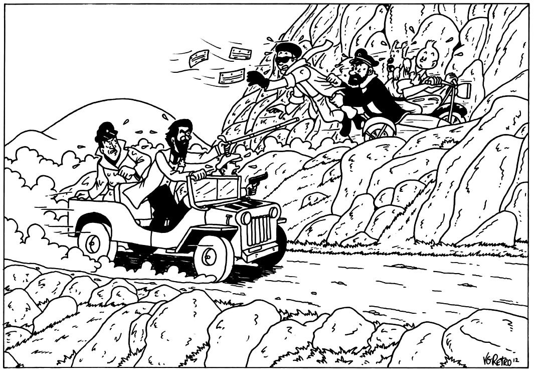 Un dessin à colorier inspiré par les aventures de TintinA partir de la galerie : Livres Et Comics