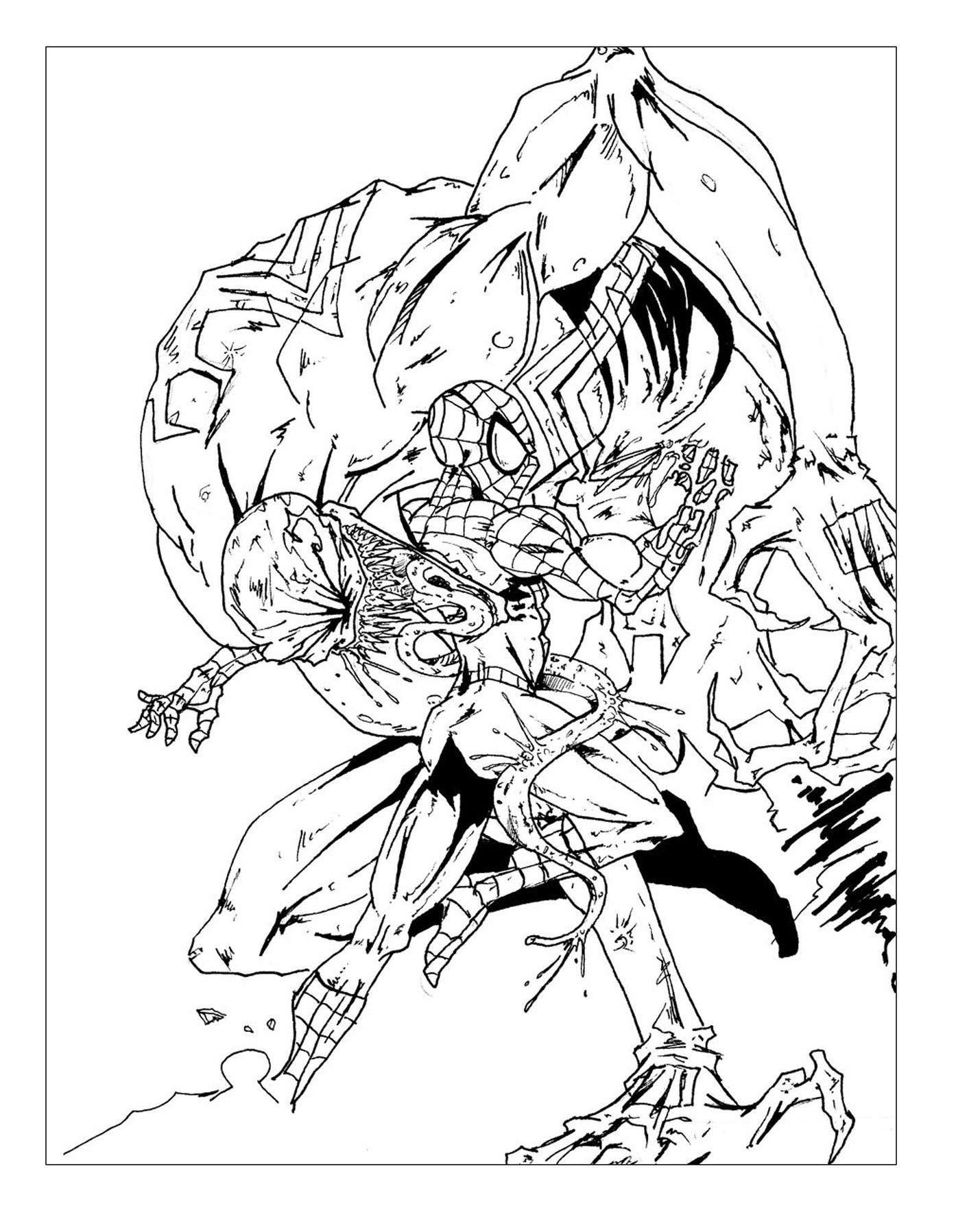 Livres et comics coloriages difficiles pour adultes coloriage spiderman contre ennemi - Coloriage venom ...