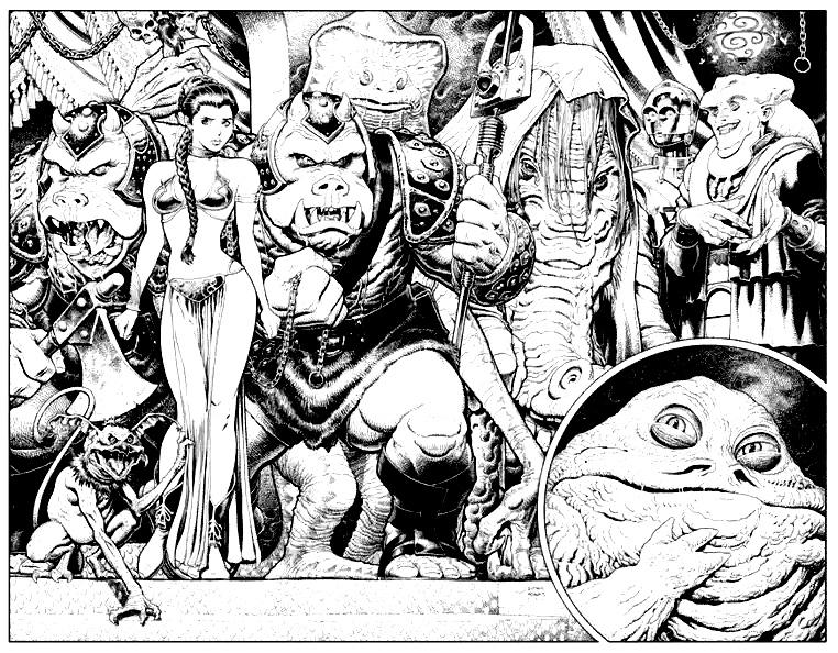 Dessin noir & blanc très détaillé issu d'un comic book Star WarsA partir de la galerie : Livres Et Comics
