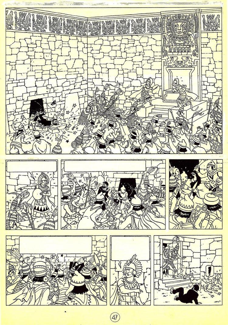 Planche noir & blanc dessinée par Hergé pour l'album Tintin et le temple du soleil (1949)A partir de la galerie : Livres Et Comics