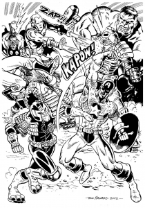 coloriage-adulte-avengers-bataille free to print