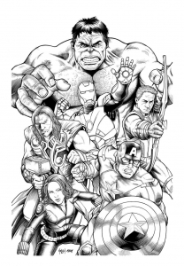 coloriage-adulte-avengers-hulk free to print