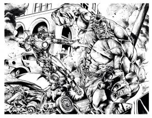 coloriage-adulte-comics-ironman-hulk-mattjamescomicarts free to print