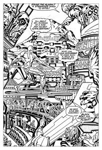 coloriage-adulte-comics-quatre-fantastiques-surfeur-argent-annees-60 free to print