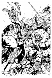 coloriage-adulte-comics-spiderman-wolverine-mattjamescomicarts free to print