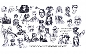 coloriage-adulte-harry-potter-visages free to print