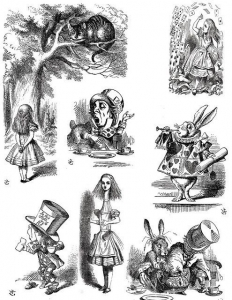 coloriage-illustration-ancienne-edition-alice-pays-merveilles free to print