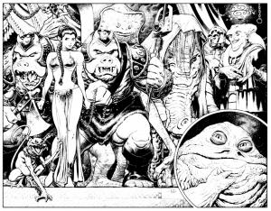 coloriage-star-wars-comics-retour-du-jedi-leila-jabba-the-hut free to print
