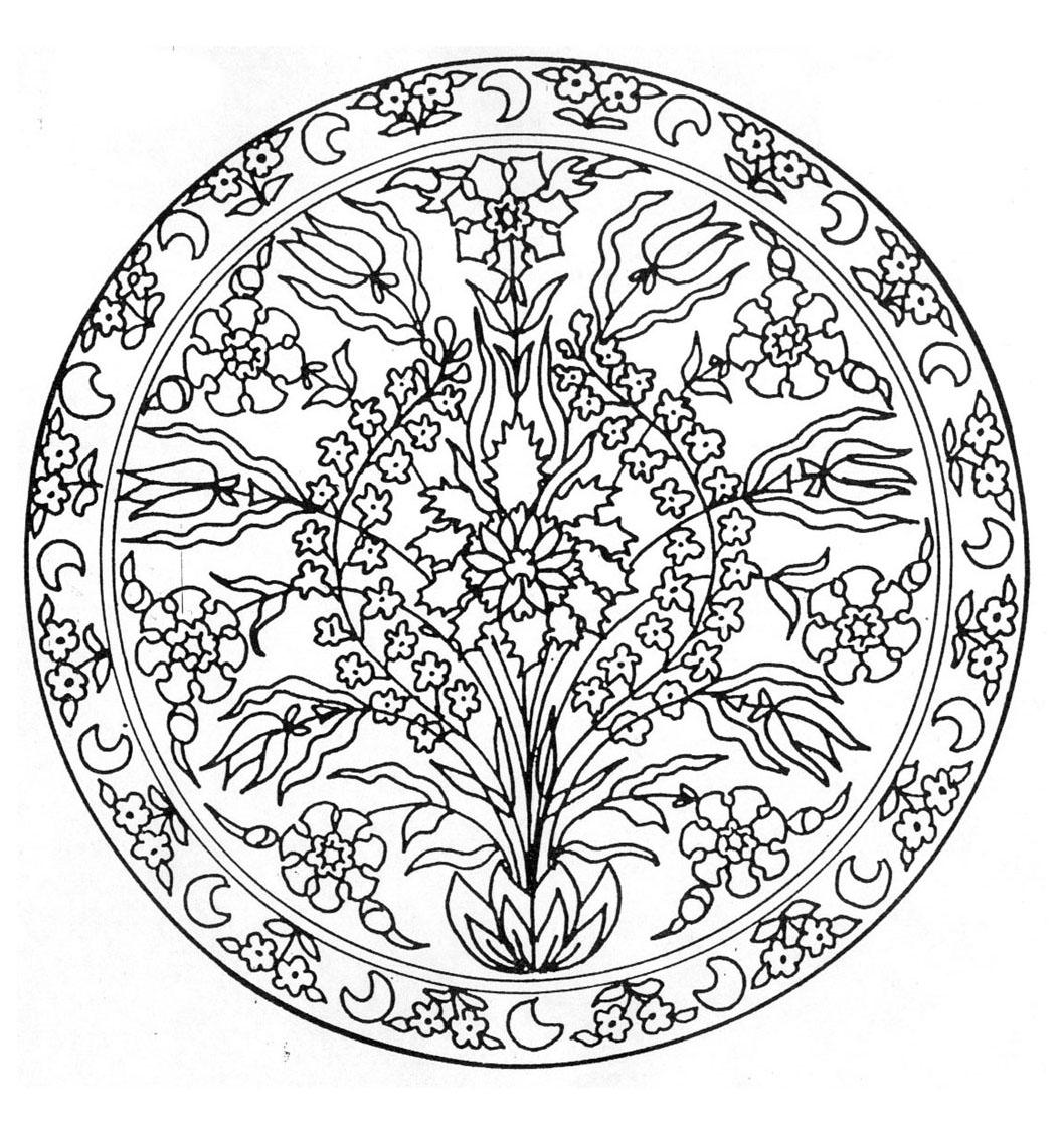 Mandalas coloriages difficiles pour adultes coloriage - Mandala fleur ...