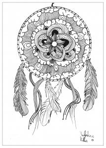 coloriage-adulte-dessin-Mandala-capteur-de-reve-par-valentin free to print
