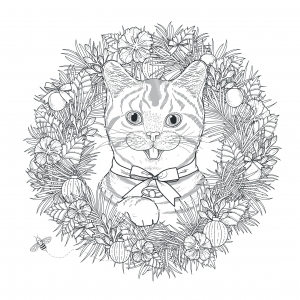 44695499 - adorable kitty coloring page in exquisite style free to print