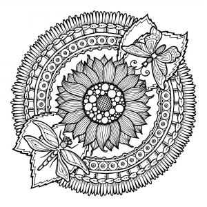 coloriage-adulte-mandala-libellule-et-fleurs-par-juliasnegireva free to print
