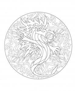 Mandalas coloriages difficiles pour adultes page 3 - Mandala de dragon ...