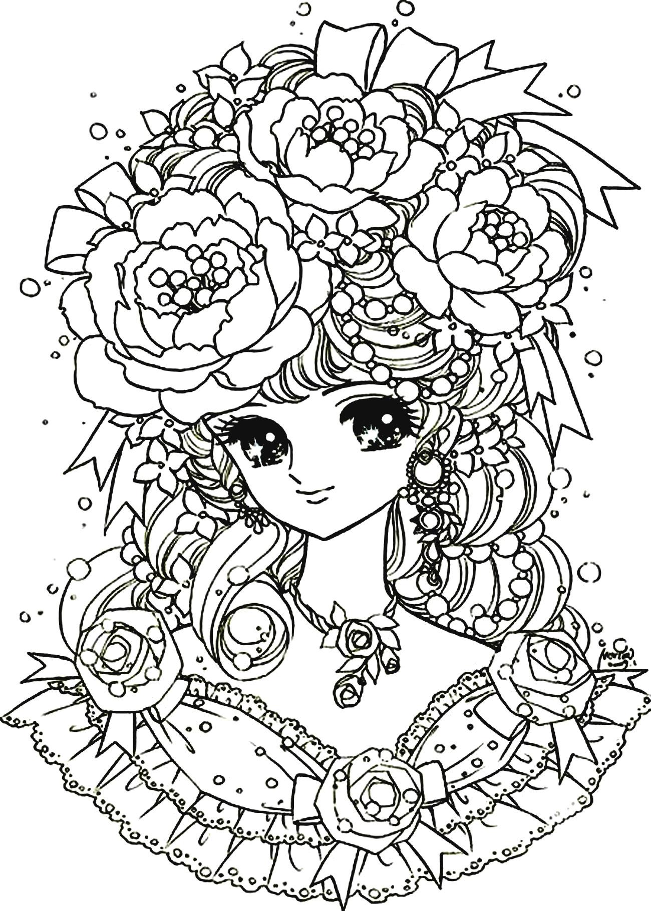 Une jolie fille style Manga, avec une chevelure imposante et très fleurieA partir de la galerie : Mangas