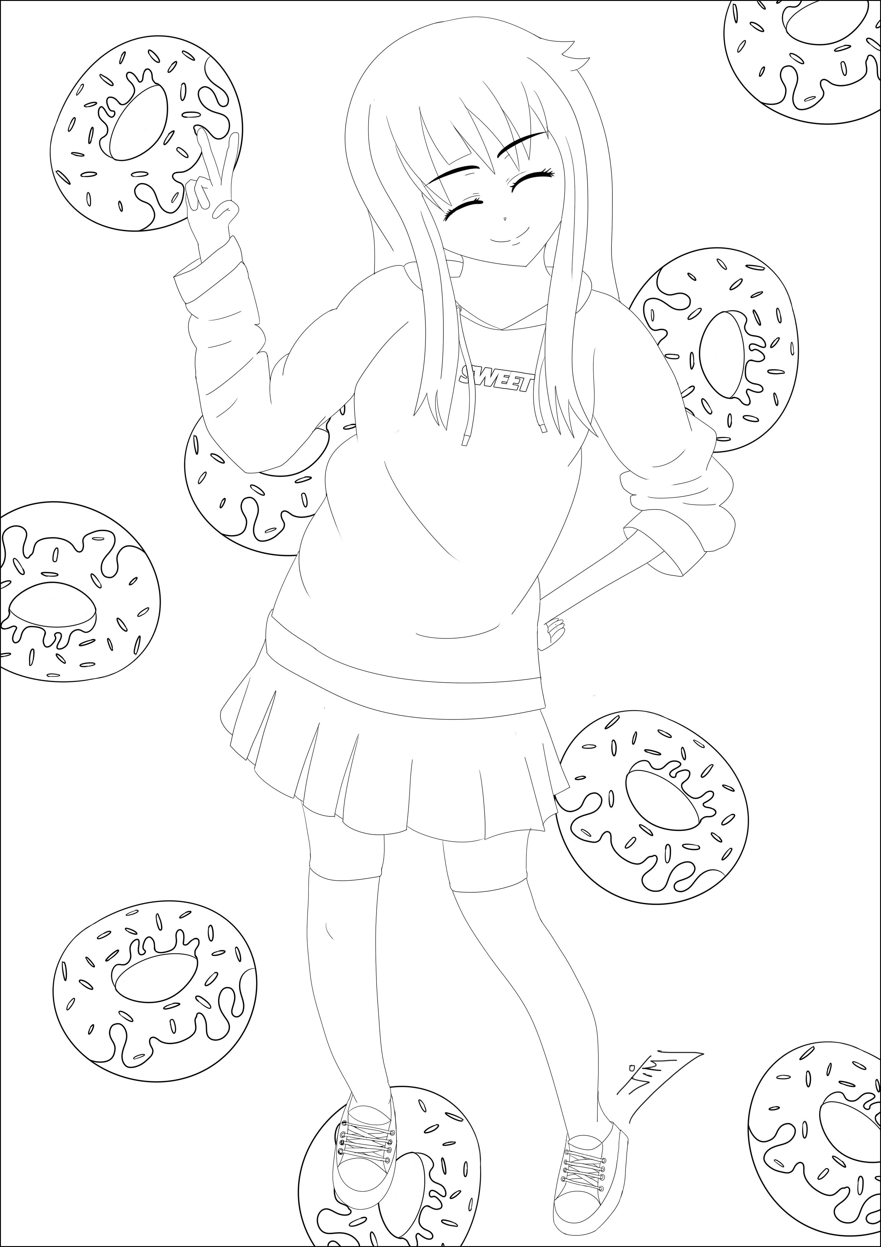 Jeune fille et une pluie de Donuts, un dessin au style très Manga / AnimeA partir de la galerie : MangasArtiste : Jim