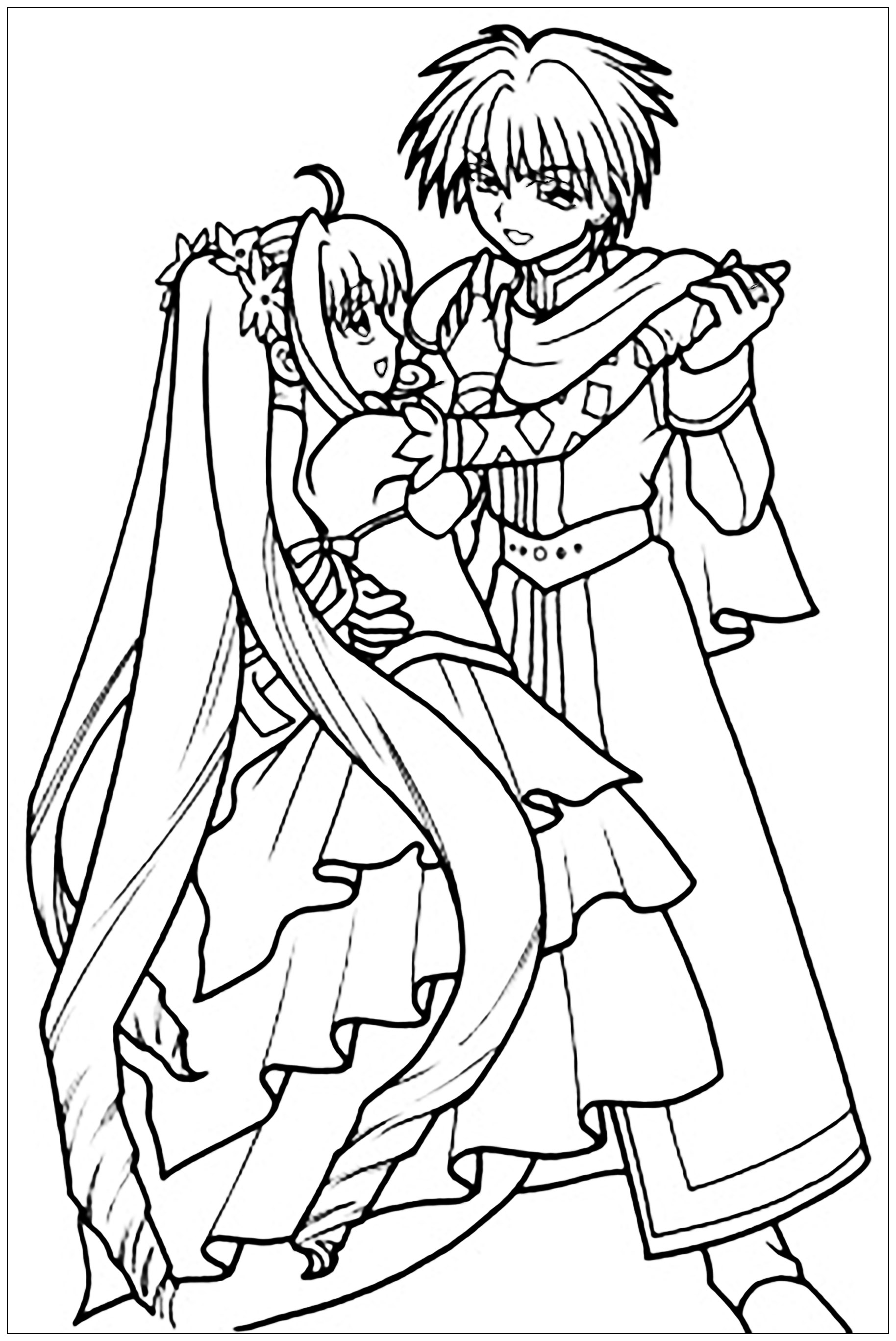 Un dessin au style Manga d'une jeune fille et d'un jeune garçon en train de danser, en tenue de balA partir de la galerie : Mangas