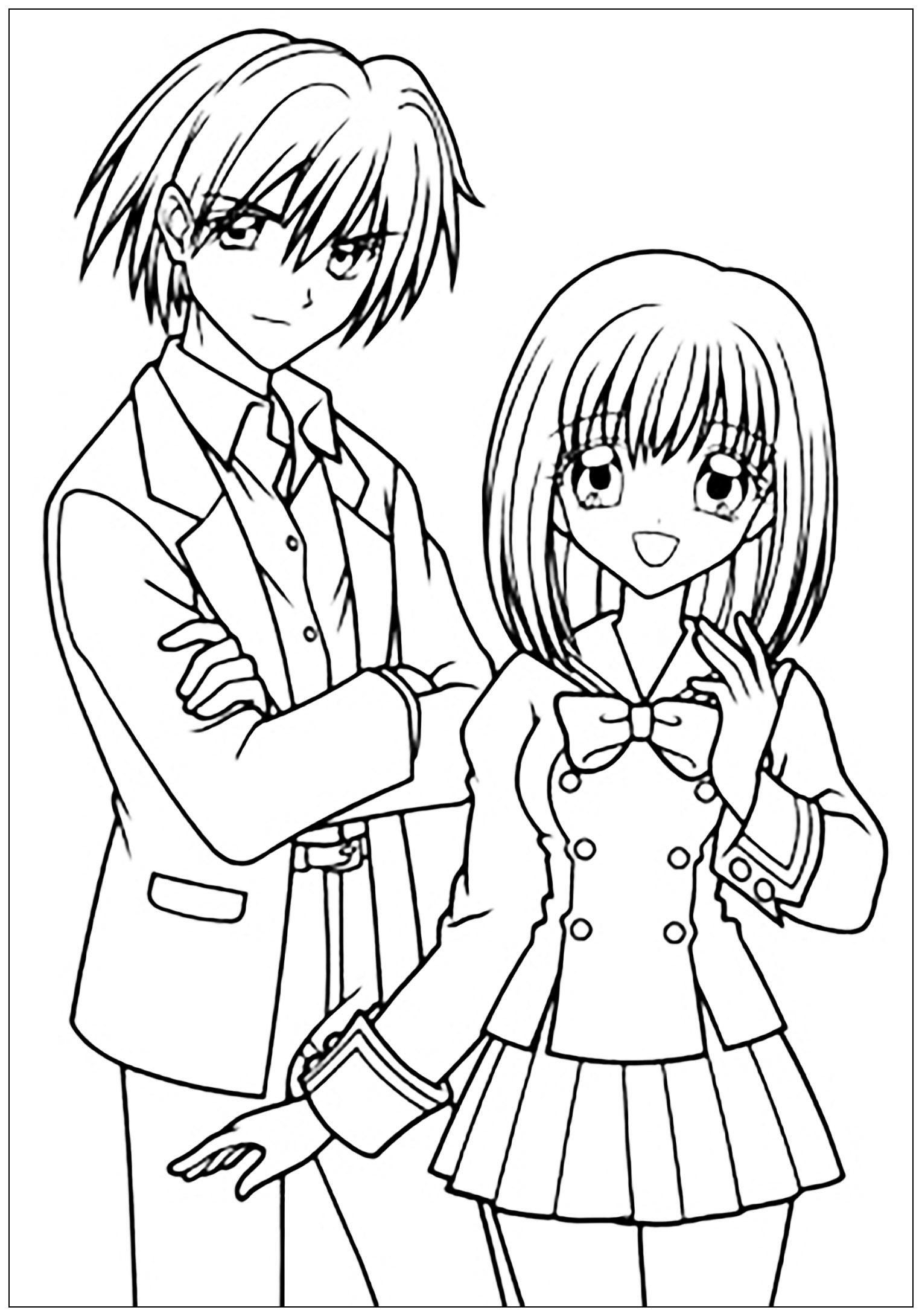 Garçon et Fille dessinés au style Manga, en tenue scolaireA partir de la galerie : Mangas