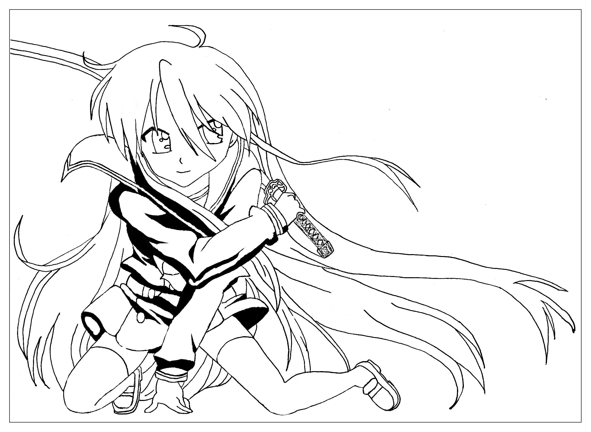 La fille au sabre, Un dessin manga originalA partir de la galerie : MangasArtiste : Krissy
