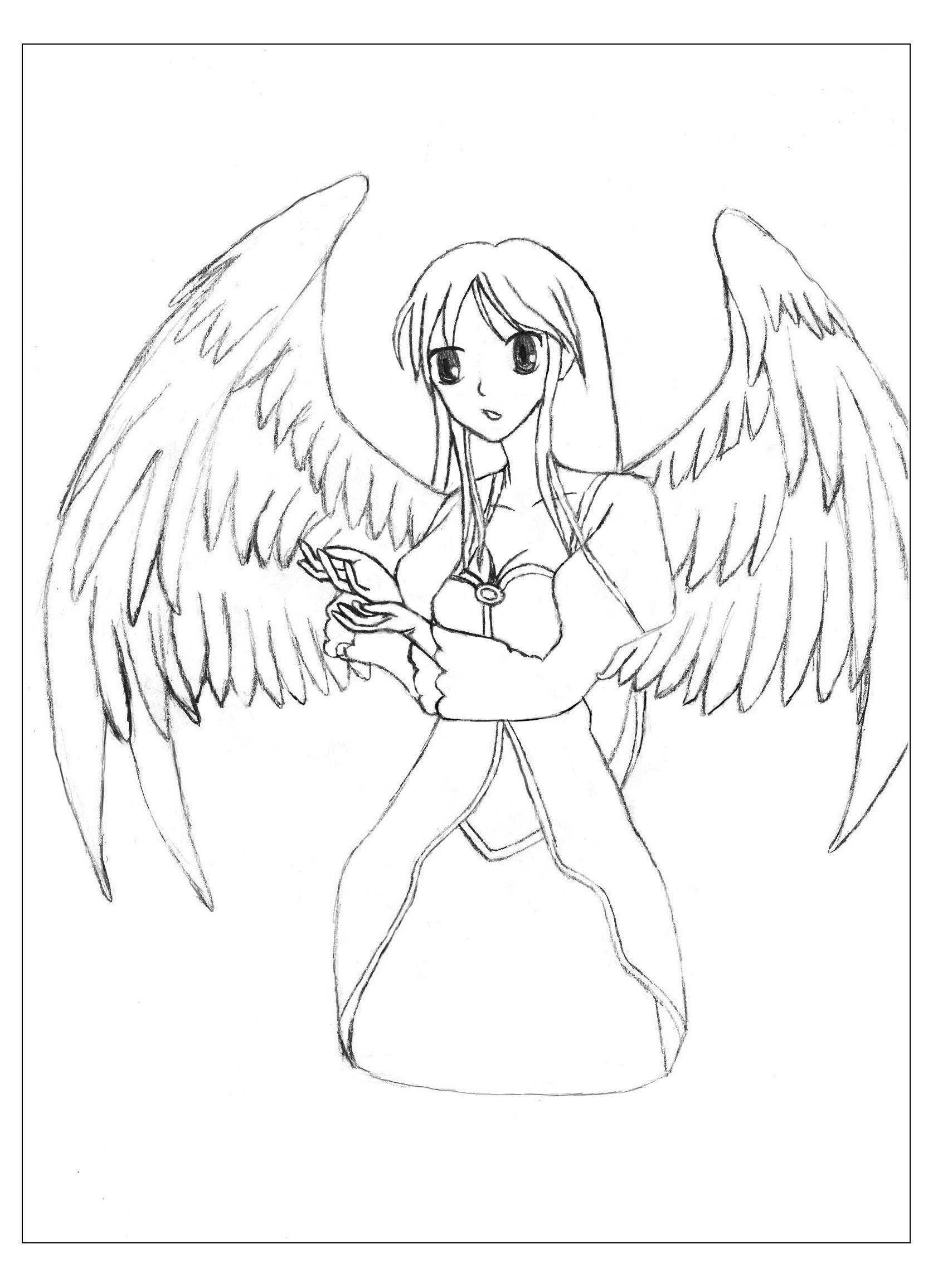 Un dessin original au style Manga d'une ange aux magnifiques ailesA partir de la galerie : MangasArtiste : Krissy