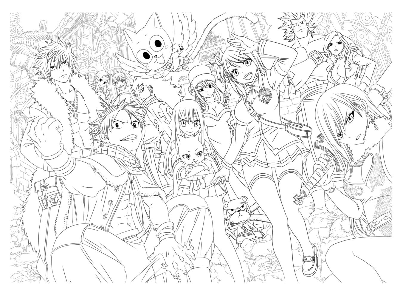 De nombreux personnages Mangas originaux, un coloriage très détailléA partir de la galerie : MangasArtiste : Tobeyd