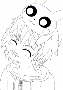 coloriage-adulte-pokemon-garçon-pikachu free to print