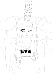 coloriage-adulte-anime-thrasher girl free to print