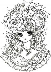 coloriage-adulte-fille-manga-fleurs free to print