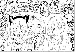 coloriage-bazar-3-personnages-mangas-par-rachel free to print