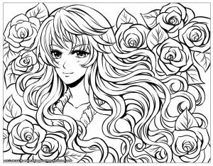 coloriage-personnage-manga-avec-fleurs-dans-ses-cheveux-par-flyingpeachbun free to print