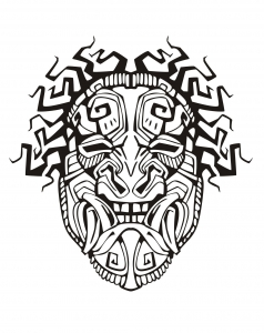 coloriage-adulte-masque-inspiration-inca-maya-azteque-1 free to print