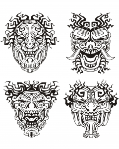 coloriage-adulte-masques-inspiration-inca-maya-azteque free to print