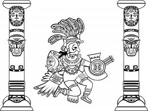 coloriage-adulte-quetzalcoatl-et-totems free to print