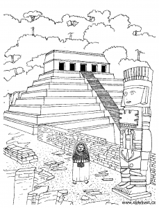 coloriage-adulte-temple-azteque free to print