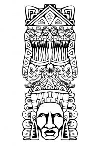 coloriage-adulte-totem-inspiration-inca-maya-azteque-1 free to print