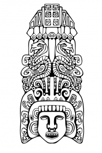 coloriage-adulte-totem-inspiration-inca-maya-azteque-2 free to print