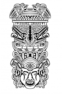 coloriage-adulte-totem-inspiration-inca-maya-azteque-4 free to print