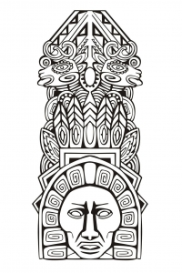 coloriage-adulte-totem-inspiration-inca-maya-azteque-5 free to print