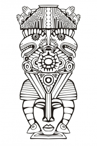 coloriage-adulte-totem-inspiration-inca-maya-azteque-6 free to print