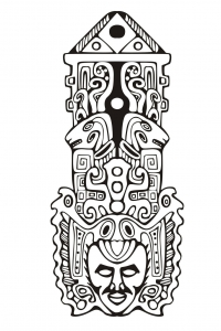coloriage-adulte-totem-inspiration-inca-maya-azteque-7 free to print