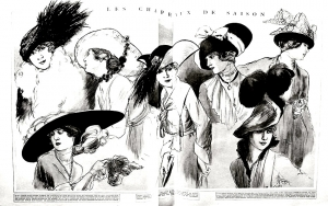 coloriage-adulte-gravure-mode-1915-chapeaux-femina free to print