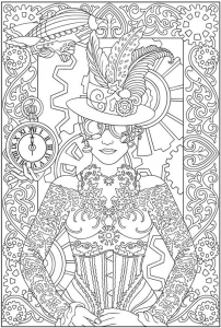 coloriage-adulte-mode-vetements-femme-horloge free to print