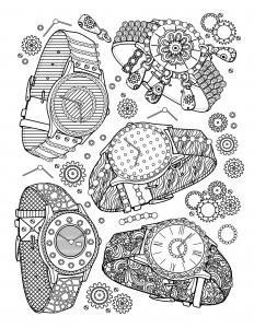 coloriage-livre-bijoux-montres free to print