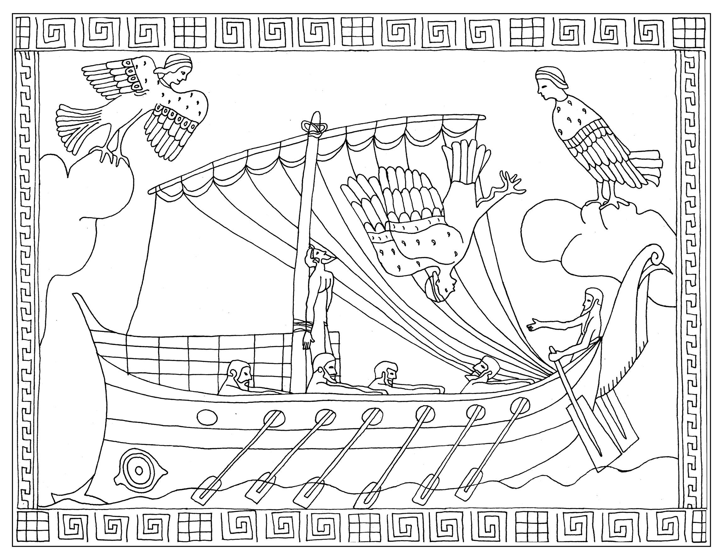 Coloriage inspiré d'un vase représentant l'épisode d'Ulysse et les sirènes Stamnos (L'Odyssée de Homère)A partir de la galerie : Mondes AquatiquesArtiste : Marion C