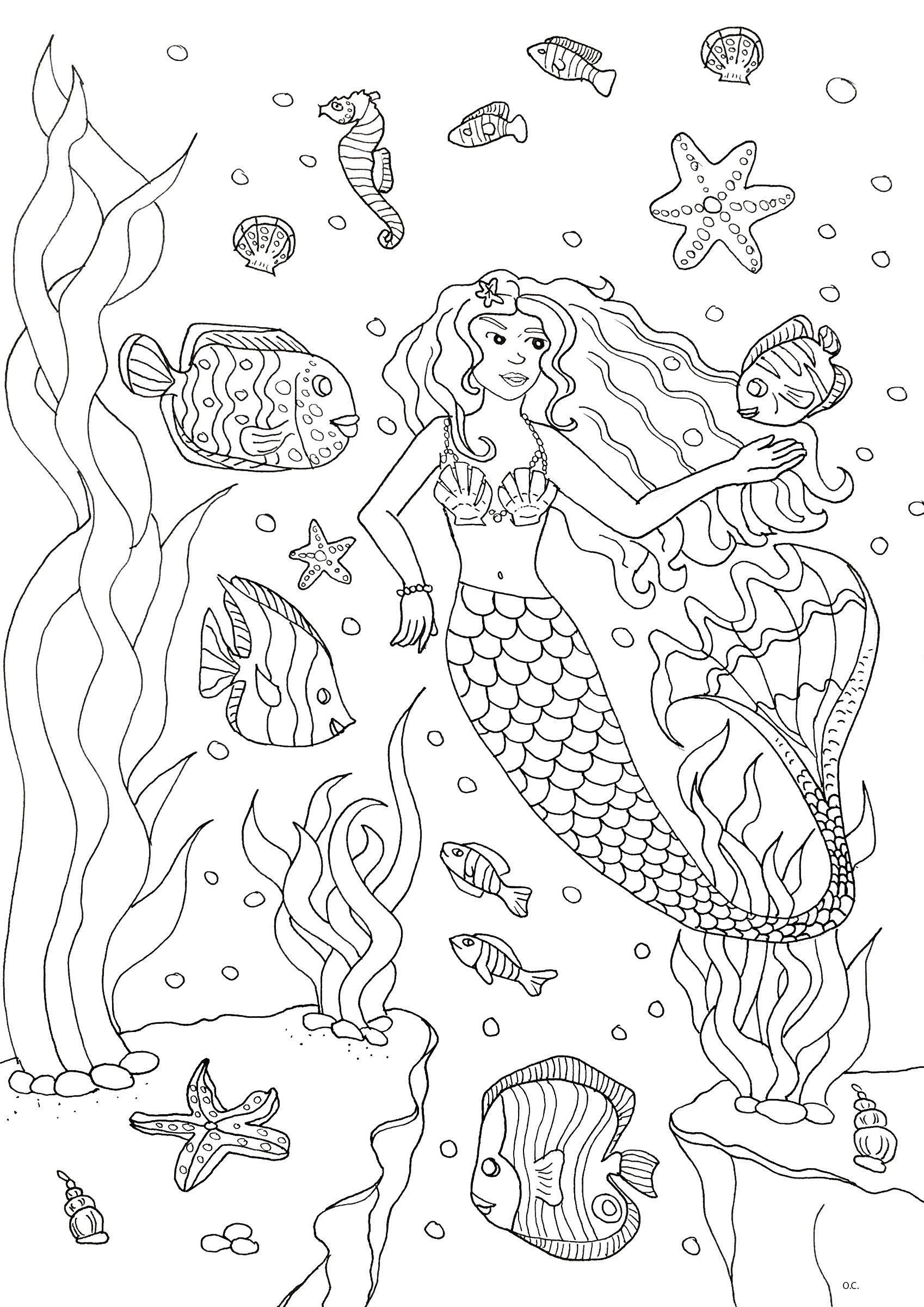 Dessin à imprimer et colorier d'une jolie sirène et ses amis poissonsA partir de la galerie : Mondes AquatiquesArtiste : Olivier