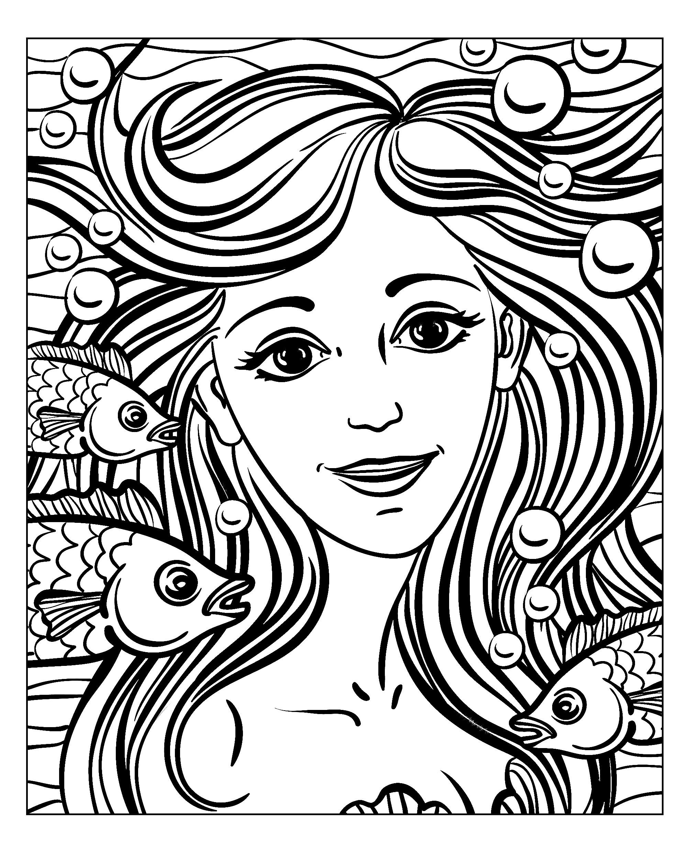 Magnifique coloriage du visage d'une sirène, par NatuskadpiA partir de la galerie : Mondes Aquatiques
